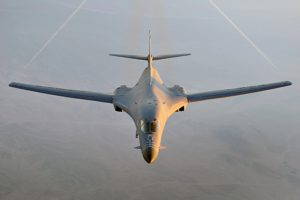 A B-1B Lancer flies a combat patrol over Afghanistan in support of Operation Enduring Freedom. The B-1B has the capability to carry guided and unguided weapons and deliver massive quantities of precision and non-precision weapons against specific targets. (U.S. Air Force photo/Staff Sgt. Aaron Allmon)